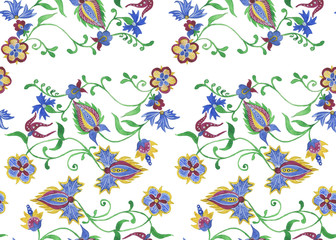 Watercolor damask seamless pattern. Elegant luxury texture for wallpapers, backgrounds and page fill.