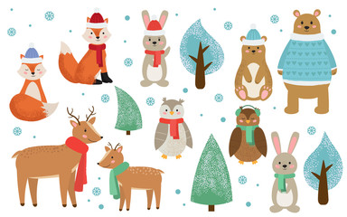 Set of winter forest animals dressed in clothes. Cute cartoon fox, rabbit, bear, deer, owl and trees. Christmas set. Kids style flat vector illustration.