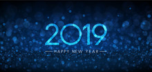 Blue Bokeh 2019 Happy New Year Banner.