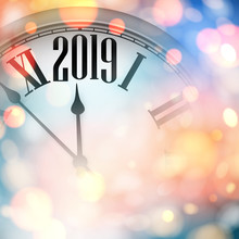 Abstract Shiny 2019 New Year Card With Clock.