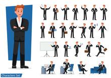 Set Of Businessman Showing Different Gestures Character Vector Design.