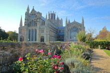View Of The Eastern Part Of The Cathedral From A Public Garden With Colorful Flowers In The Foreground, Ely, Cambridgeshire, Norfolk, UK