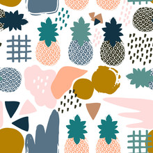 Abstract Pineapples. Hand Drawn Vector Seamless Pattern