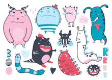 Cute Funny Monsters. Hand Drawn Colored Vector Set. All Elements Are Isolated