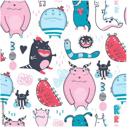 Cute funny monsters. Hand drawn colored vector seamless pattern