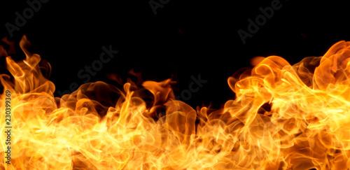 Photo Stands Fire / Flame Fire flames on a black background