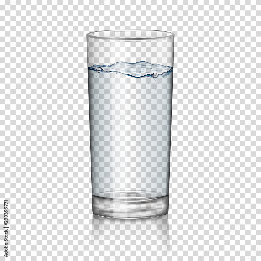 Fototapety, obrazy: realistic transparent glass of water isolated