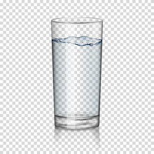 Realistic Transparent Glass Of Water Isolated