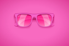 Rose Colored Glasses On Pink Background. Take Of Rose-colored. Summer Vacation Or Shopping Sale Creative Advertisement. Editable Vector Illustration