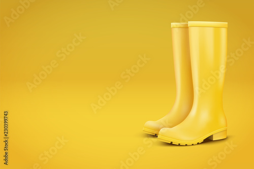 Fototapeta Autumn Fashion Advert Illustration. Pair of yellow rubber rain boots on yellow background. Season sale and marketing. Shopping poster with copy space in trendy color. Vector obraz