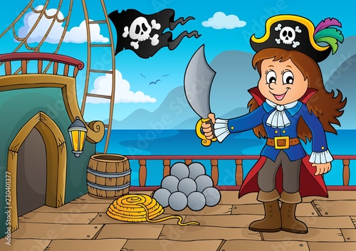Tuinposter Voor kinderen Pirate ship deck topic 7
