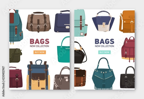 Obraz Set of vertical banner, flyer or poster templates with stylish bags, backpacks and handbags of different types and place for text. Colorful vector illustration for accessory shop advertisement. - fototapety do salonu