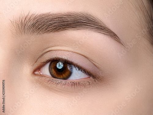 Canvas Print Close up view of beautiful brown female eye