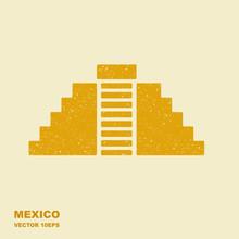 Vector Flat Icon Of Chichen Itza, Mexico. Illustration With Scuffed Effect