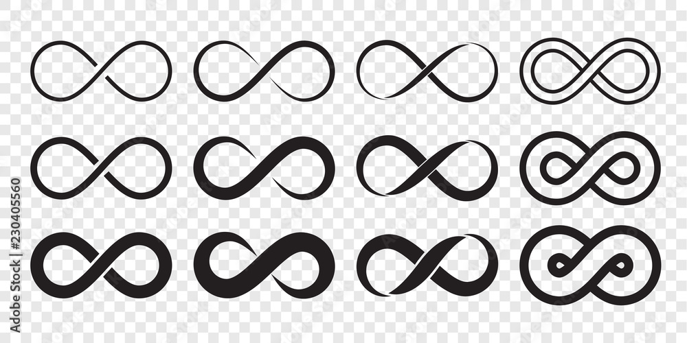 Fototapety, obrazy: Infinity loop logo icon. Vector unlimited infinity, endless line shape sign