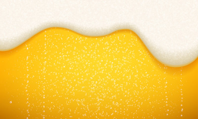 Beer foam and bubbles background. Vector seamless realistic craft beer with flowing foam and bubbles