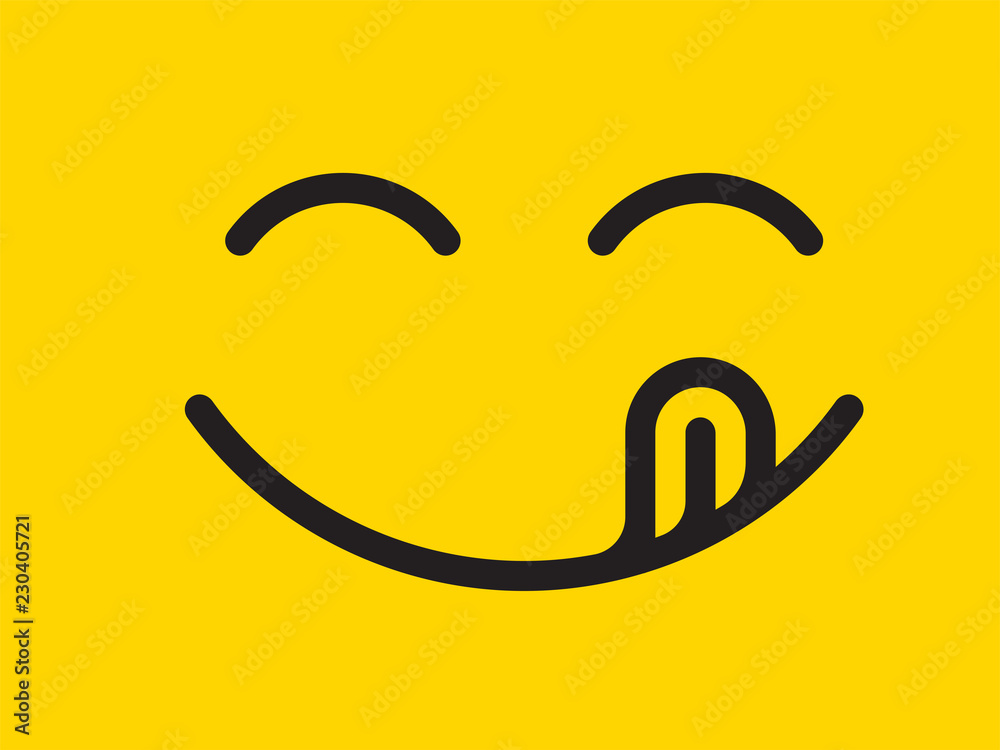 Fototapeta Yummy smile vector cartoon line emoticon with tongue lick mouth. Delicious tasty food eating emoji face on yellow design background