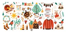 Collection Of Christmas Decorations, Holiday Gifts, Winter Knitted Woolen Clothes, Mulled Wine And Ginger Bread Isolated On White Background. Colorful Vector Illustration In Flat Cartoon Style.