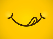 Yummy Smile Vector Cartoon Lin...