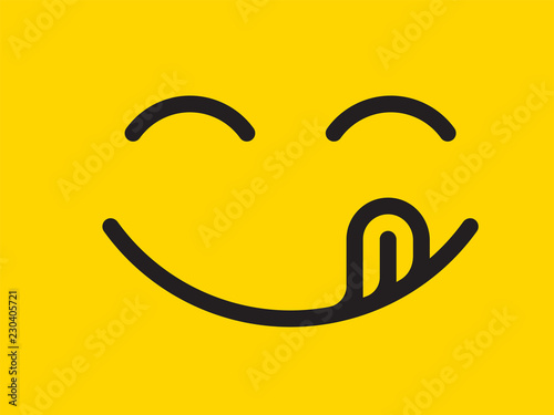Fotografie, Obraz  Yummy smile vector cartoon line emoticon with tongue lick mouth