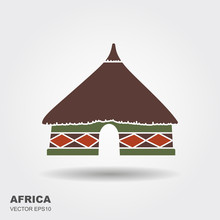 African Tribal Hut Icon Isolated On White Background