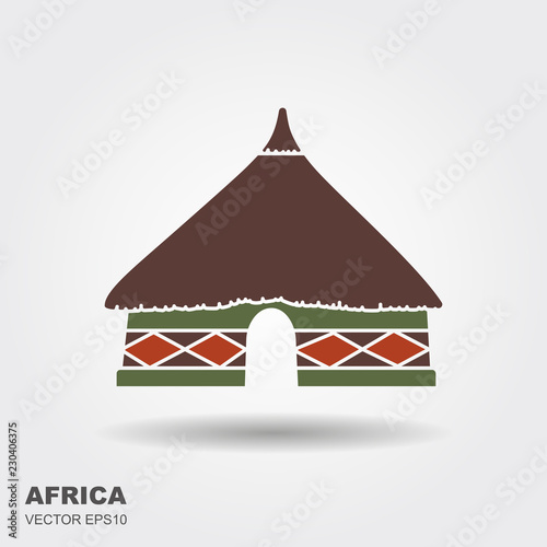 Photographie African tribal hut icon isolated on white background