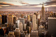 Beautiful sunset over skyline of New York City Midtown Manhattan