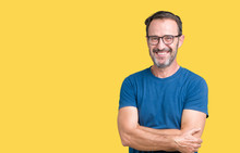 Handsome Middle Age Hoary Senior Man Wearin Glasses Over Isolated Background Happy Face Smiling With Crossed Arms Looking At The Camera. Positive Person.