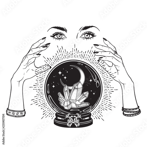 Hand drawn magic crystal ball with gems and crescent moon in hands of fortune teller line art and dot work. Boho chic tattoo, poster, tapestry or altar veil print design vector illustration.