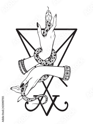 Serpent in female hands over the sigil of Lucifer line art and dot work. Boho chic tattoo, poster, tapestry or altar veil print design vector illustration.