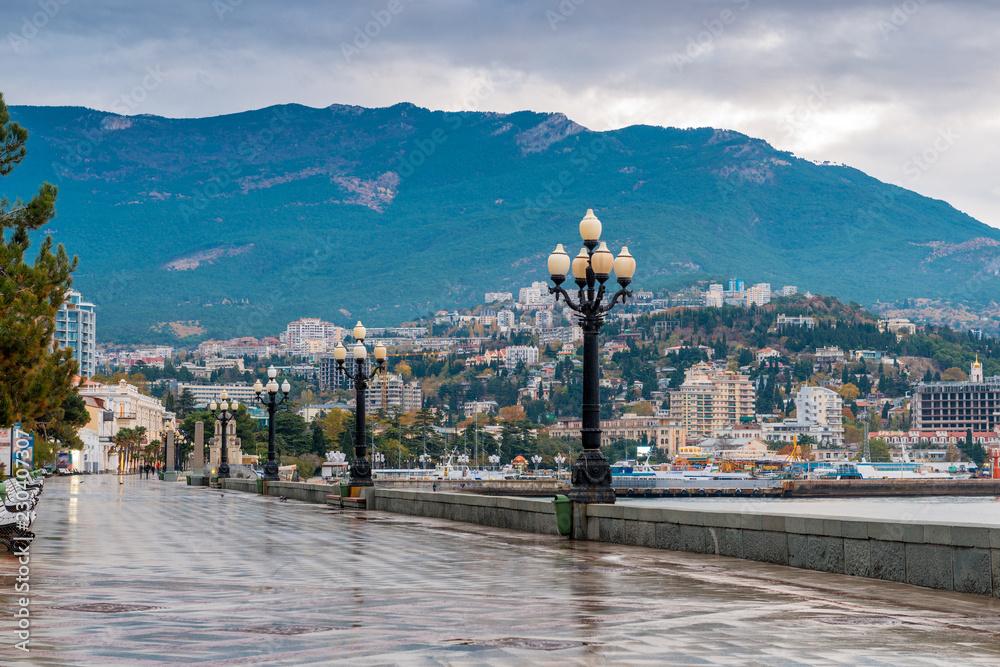 Fototapety, obrazy: Beautiful embankment of the resort of Yalta on an autumn rainy day, the peninsula of Crimea, Russia