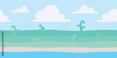Soft nature landscape with blue sky, shore and some green plants. Coastal scenery. Seaside. Vector illustration in simple minimalistic flat style. Scene for your artwork and design. Horizontal.