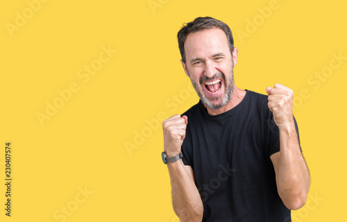 Fotografia Handsome middle age hoary senior man over isolated background very happy and excited doing winner gesture with arms raised, smiling and screaming for success