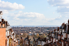 LONDON, UK A View Of East London From Muswell Hill On A Winter's Day. The Victorian Terraces Of Muswell Hill Can Be Seen In The Foreground.