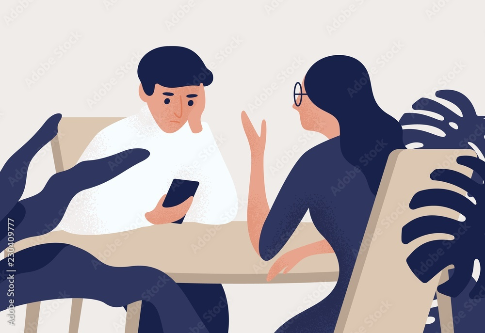 Fototapeta Couple sitting at table, woman talking to her partner, man looking at his smartphone. Estrangement in romantic relationship, emotional distancing. Colored vector illustration in flat cartoon style.