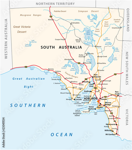 Road Map Of Australia.Vector Road Map Of The State South Australia Buy This Stock Vector