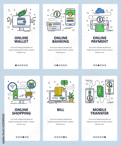 f8722307a Vector web site linear art onboarding screens template. Finance and banking  online services. Mobile payments and money transfer. Menu banners for  website ...