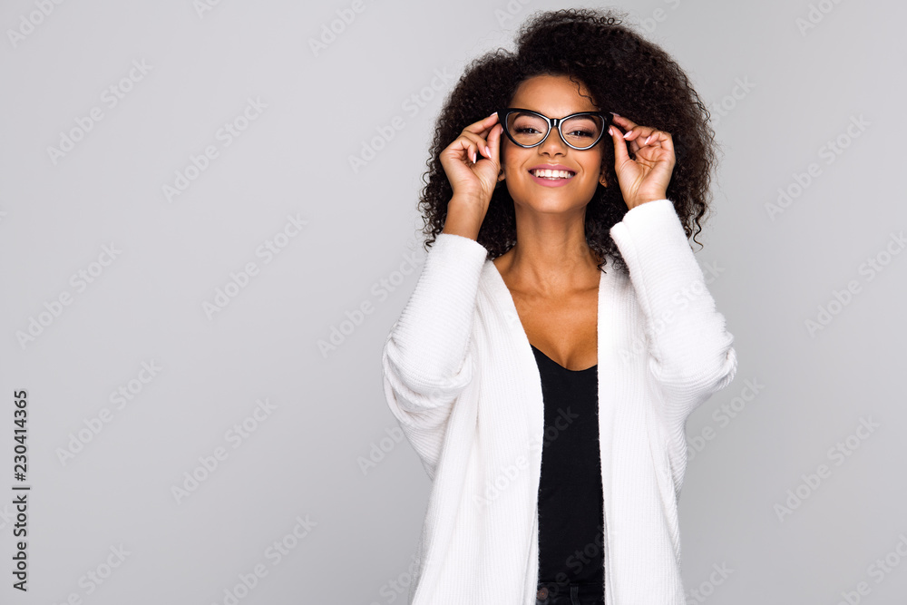 Fototapeta Young woman wearing eyeglasses