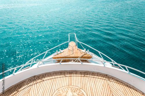 Fotografía  luxury yacht, stern interior, comfortable design for rest leisure tourism travel