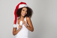 Happy Afro Woman Wear Santa Cl...