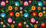 Polski folklor - kwiaty i liście na ciemnym tle