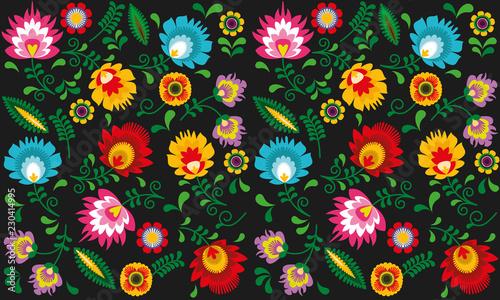 Stampa su Tela Polski folklor - kwiaty i liście na ciemnym tle