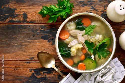 Vegetable soup with chicken fillet.Top view with copy space. Tablou Canvas