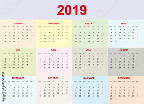 Calendario 2019.Calendario 2019 En Ingles Color Pastel Buy This Stock