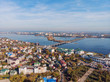 Aerial panoramic view of Voronezh city from above, drone photo