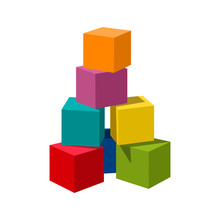 Bright Colored Bricks Building Tower. Block Vector Illustration On White Background. Blank Cubes For Your Own Design.