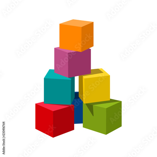 Papel de parede Bright colored bricks building tower