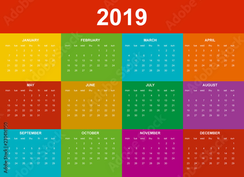 Calendario Vectorizado.Calendario 2019 En Ingles Colores Saturados Buy This