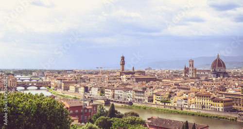 Fotobehang Florence Panoramic view of Florence from Michelangelo Square