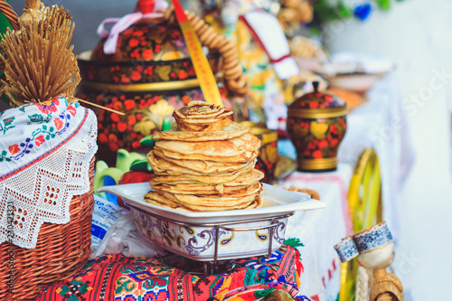 Delicious pancakes on the counter festival Maslenitsa